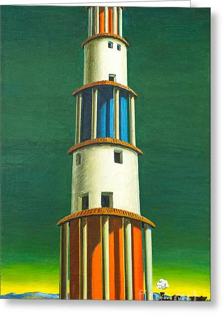 Chirico Greeting Cards - The tower and the train by Giorgio de C Greeting Card by Roberto Morgenthaler