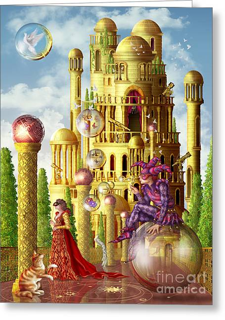 Jester Greeting Cards - The Tower Greeting Card by Ciro Marchetta