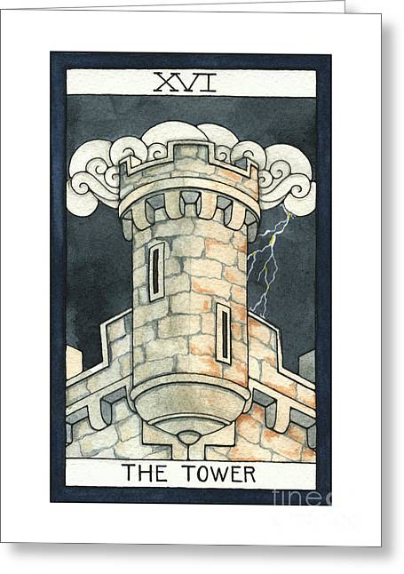 Nora Blansett Mixed Media Greeting Cards - The Tower Greeting Card by Nora Blansett