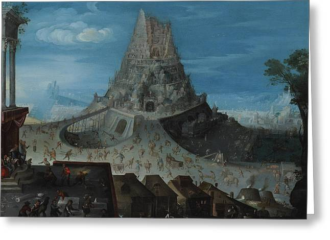 Constructing Greeting Cards - The Tower Of Babel Greeting Card by Hendrick van Cleve