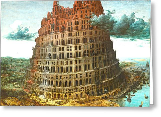Christ Pyrography Greeting Cards - The Tower of Babel Greeting Card by Miguel Rodriguez