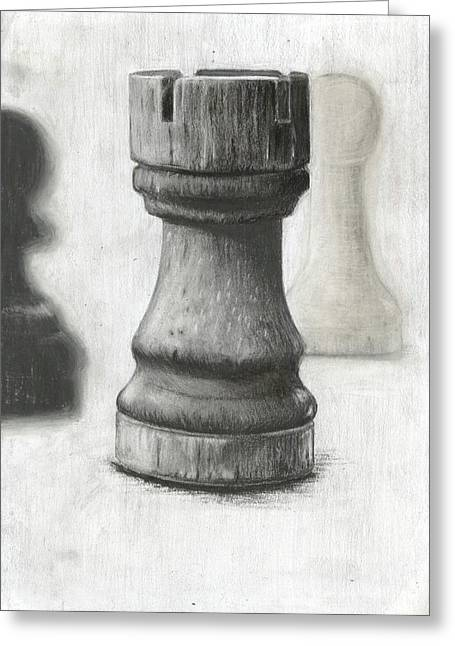 Chess Piece Drawings Greeting Cards - The Tower of Destruction Greeting Card by Ilshad Luckhoo