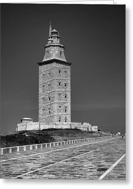 Galicia Greeting Cards - The Tower of Hercules lighthouse 2nd century Greeting Card by Guido Montanes Castillo