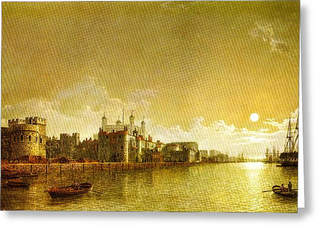 Moonlight On The River Greeting Cards - The Tower of London by Moonlight Greeting Card by Henry Pether