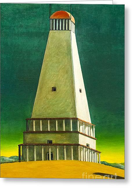 Chirico Greeting Cards - The tower of silence by Giorgio de Chirico Greeting Card by Roberto Morgenthaler