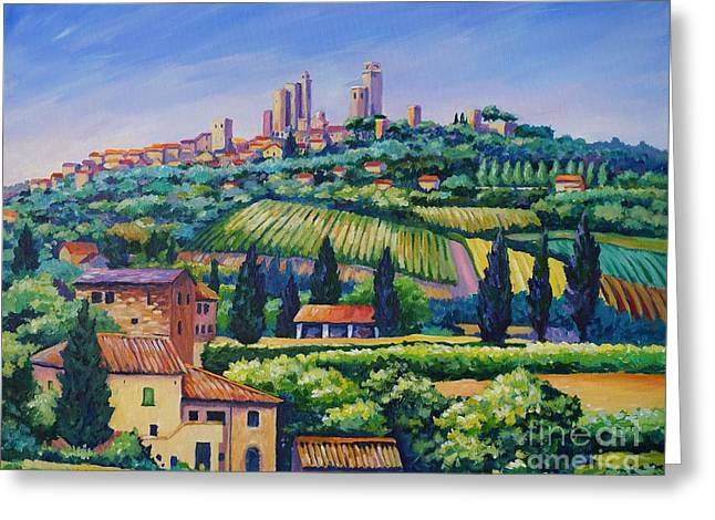 Skyline Paintings Greeting Cards - The Towers of San Gimignano Greeting Card by John Clark