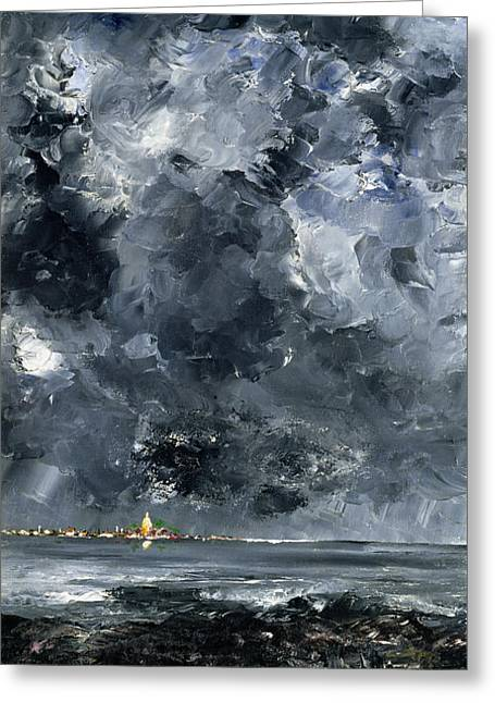 Expressionist Greeting Cards - The Town Greeting Card by August Johan Strindberg
