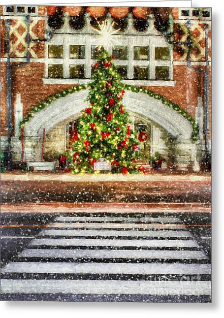 Small Town Usa Greeting Cards - The Town Christmas Tree Greeting Card by Darren Fisher