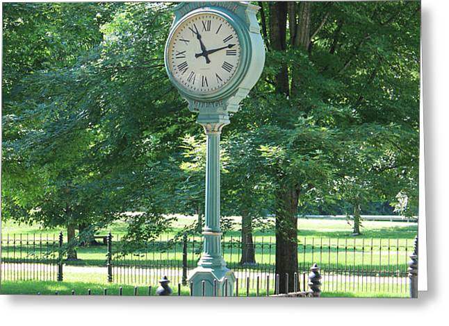 The Town's Clock Greeting Card by Brenda Donko