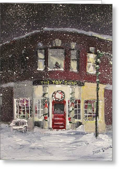 Concord Center Paintings Greeting Cards - The Toy Shop Greeting Card by Jack Skinner