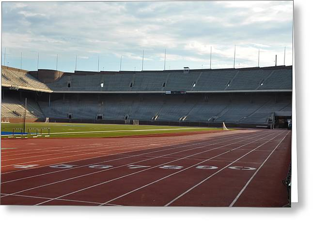 Penn Digital Art Greeting Cards - The Track at Franklin Field Greeting Card by Bill Cannon