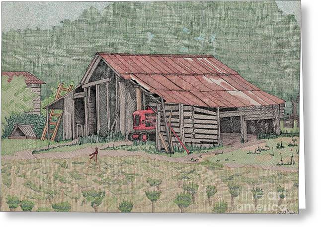 The Tractor Barn Greeting Card by Calvert Koerber