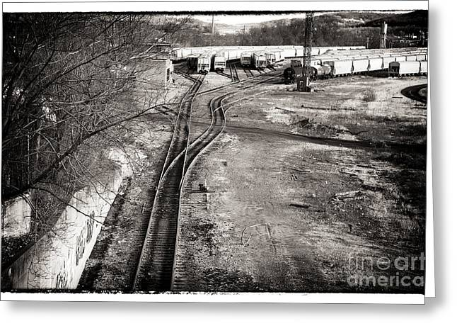 Black And White Train Track Prints Greeting Cards - The Train Yard Greeting Card by John Rizzuto