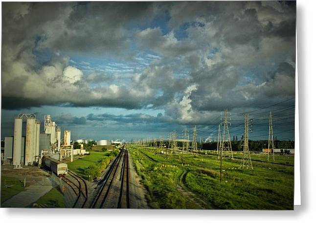 Powerline Greeting Cards - The Train Yard Greeting Card by Linda Unger