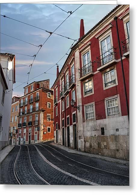 The Tram Stop Lisbon Greeting Card by Carol Japp