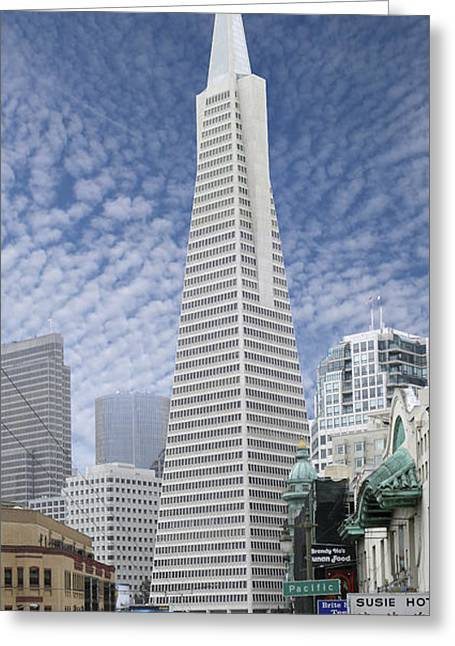 Tall Buildings Greeting Cards - The Transamerica Pyramid - San Francisco Greeting Card by Mike McGlothlen