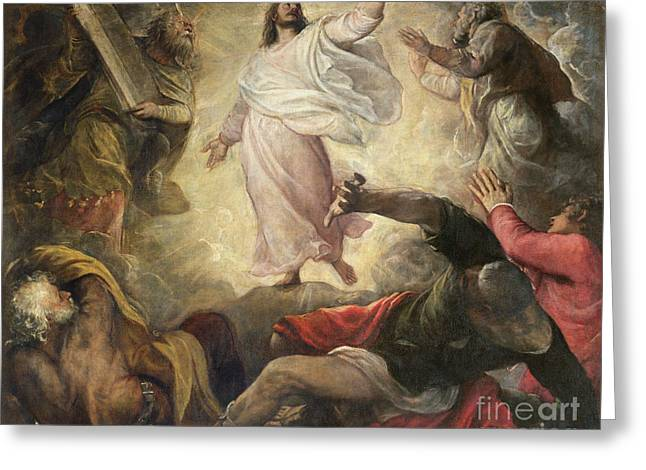 Religious Paintings Greeting Cards - The Transfiguration of Christ Greeting Card by Titian