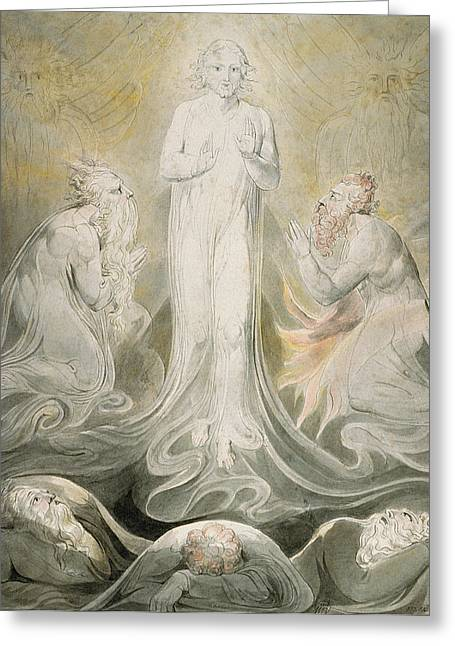Biblical Greeting Cards - The Transfiguration Greeting Card by William Blake
