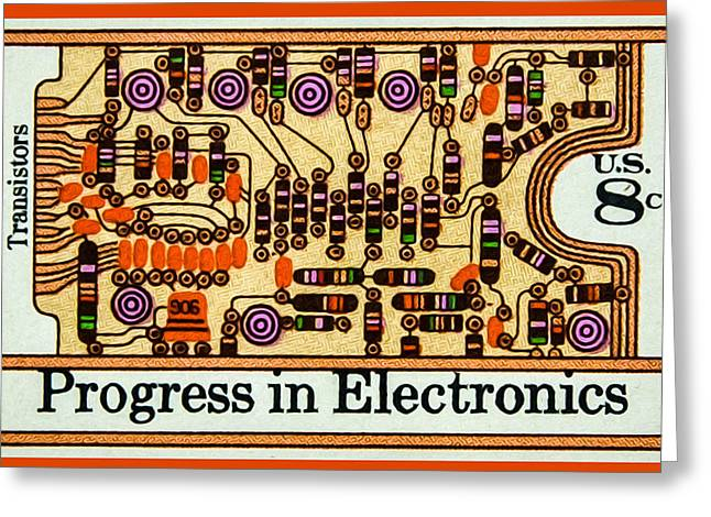 Transfer Paintings Greeting Cards - The Transistors and Circuit Board stamp Greeting Card by Lanjee Chee
