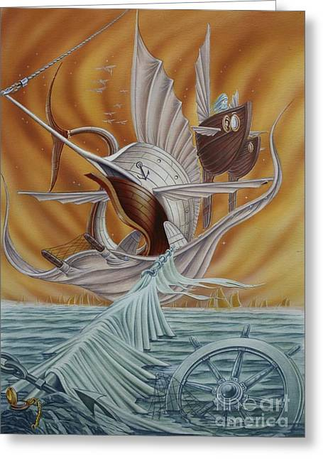 Swordfish Greeting Cards - The transition to the afterlife Greeting Card by Eric De clercq