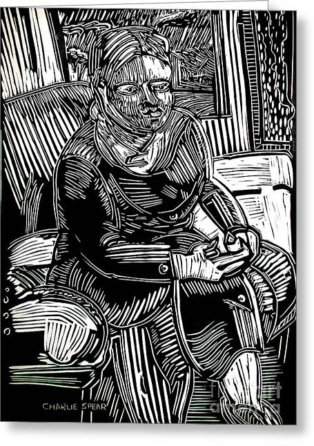 Lino Cut Drawings Greeting Cards - The TRAVELER Greeting Card by Charlie Spear