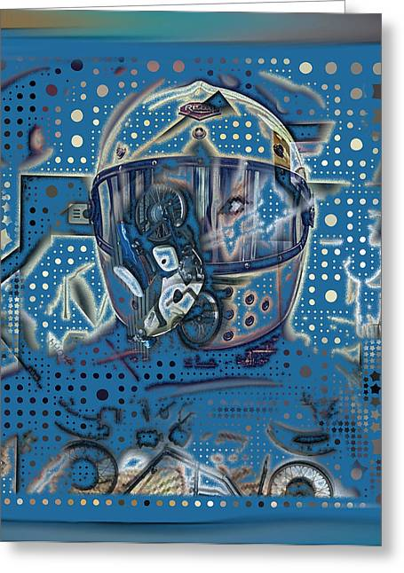 Astronauts Mixed Media Greeting Cards - The Traveler Greeting Card by Russell Pierce