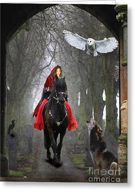 Riders Greeting Cards - The Travellers Greeting Card by Angelgold Art