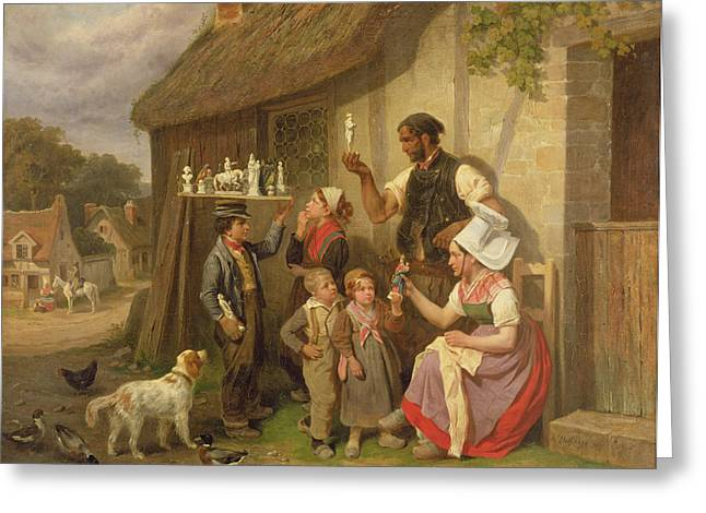 Peddler Greeting Cards - The Travelling Plaster Figure Salesman, 1883 Oil On Canvas Greeting Card by Joseph-Louis-Hippolyte Bellange