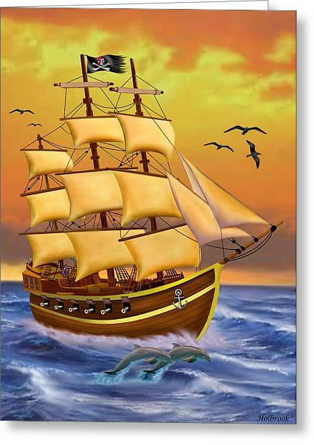 Pirate Ships Greeting Cards - The Treasure Hunter Greeting Card by Glenn Holbrook