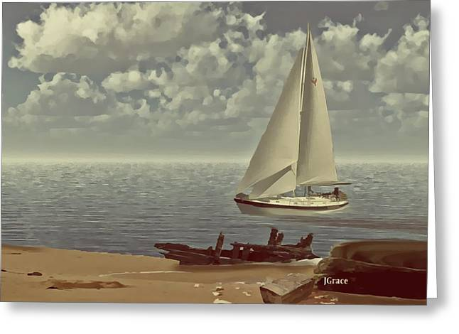 Sailboat Ocean Greeting Cards - The Treasure Greeting Card by Julie  Grace
