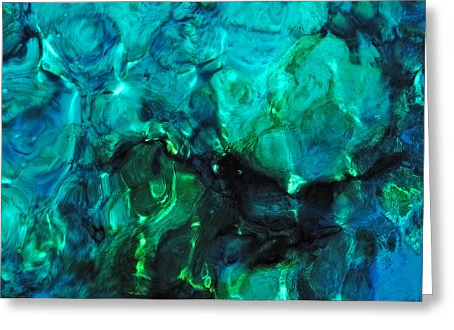 Water Patterns Greeting Cards - The Treasure of the Ocean. Tropical Water Greeting Card by Jenny Rainbow