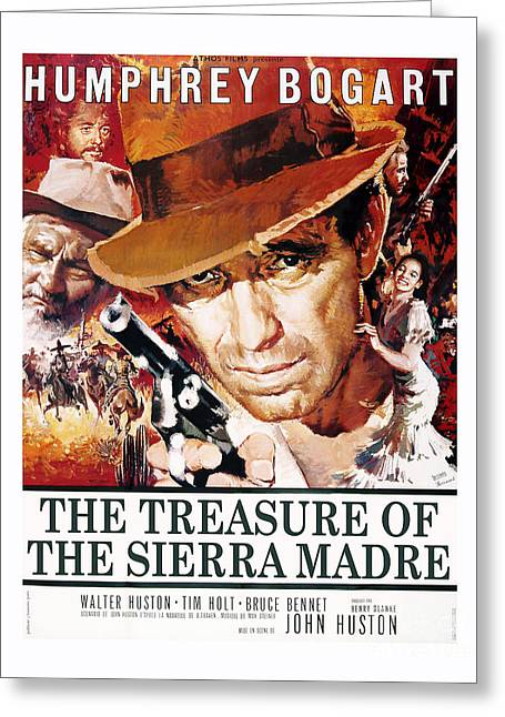 Bogart Greeting Cards - The Treasure of the Sierra Madre Movie Poster Greeting Card by MMG Archive Prints