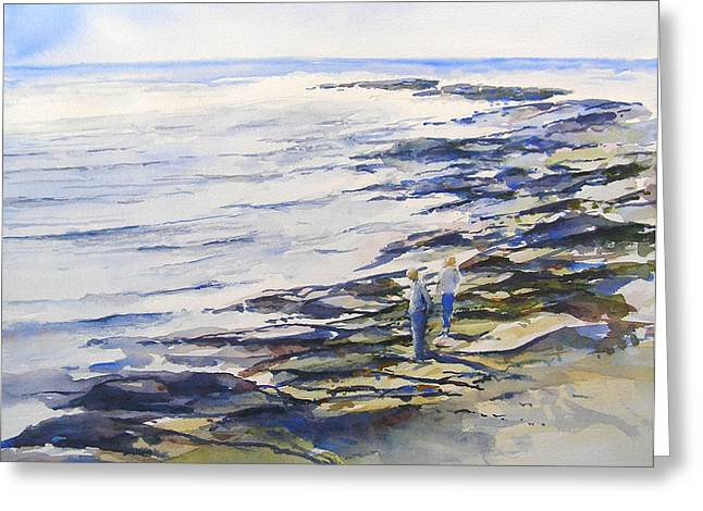 Maine Beach Paintings Greeting Cards - The Treasure Seekers Greeting Card by William Beaupre