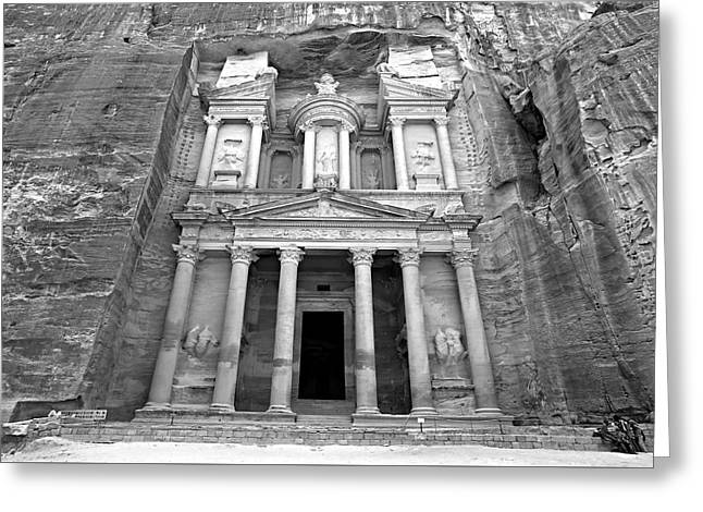 Caves Greeting Cards - The Treasury at Petra Greeting Card by Stephen Stookey