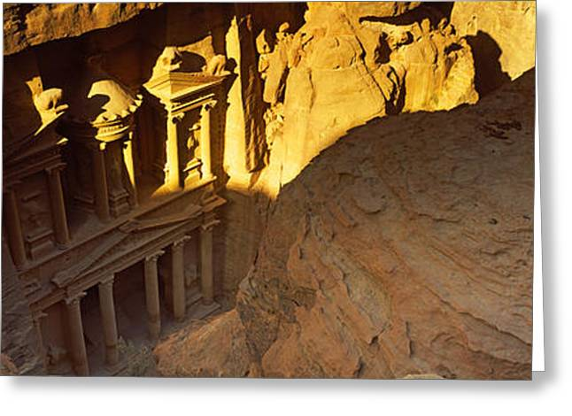 Civilization Greeting Cards - The Treasury At Petra, Wadi Musa, Jordan Greeting Card by Panoramic Images