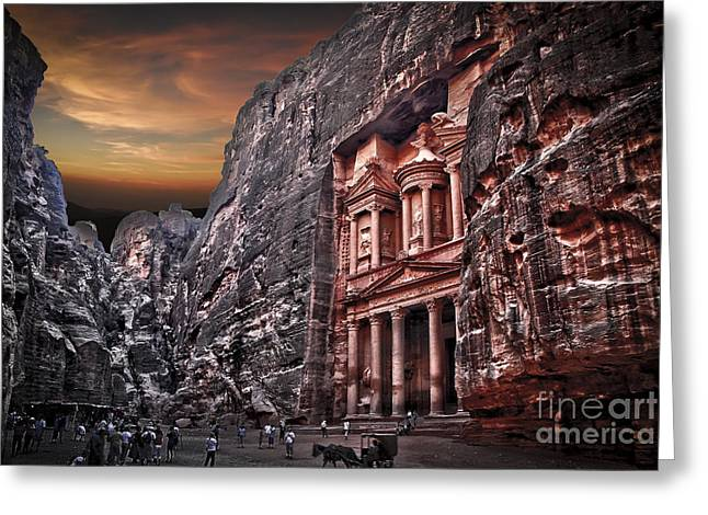 Petra - Jordan Greeting Cards - the Treasury El Khazneh Greeting Card by Dan Yeger