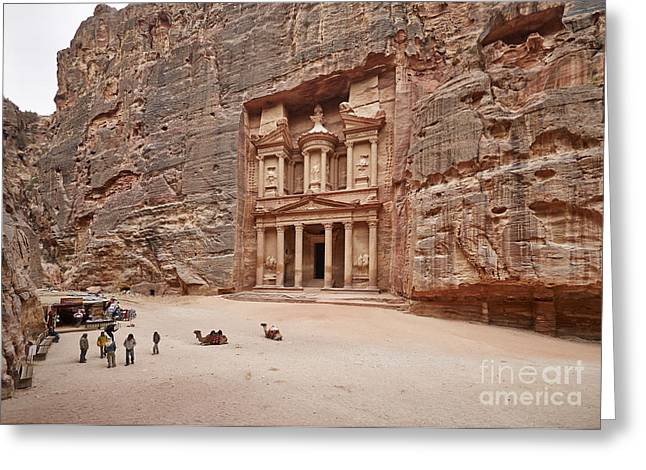 Al Khazneh Greeting Cards - the treasury Nabataean ancient town Petra Greeting Card by Juergen Ritterbach