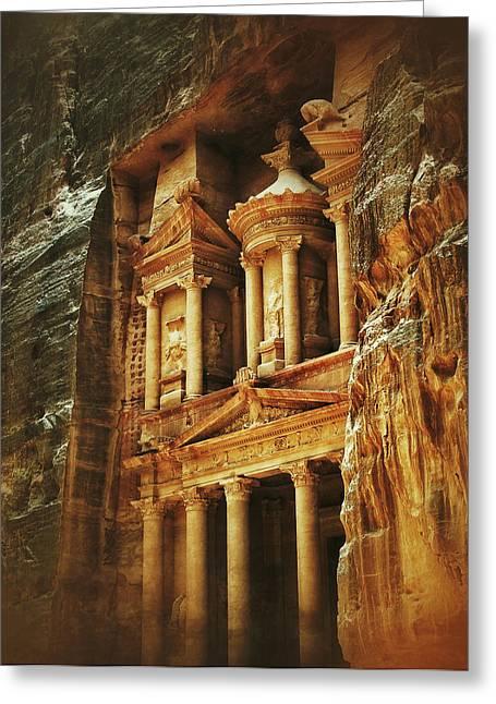Petra - Jordan Digital Greeting Cards - The Treasury Greeting Card by Shadows of Palmyra Photography