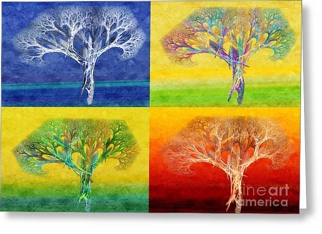 The Tree 4 Seasons - Painterly - Abstract - Fractal Art Greeting Card by Andee Design