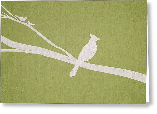 White Birds Greeting Cards - The Tree Branch Greeting Card by Aged Pixel