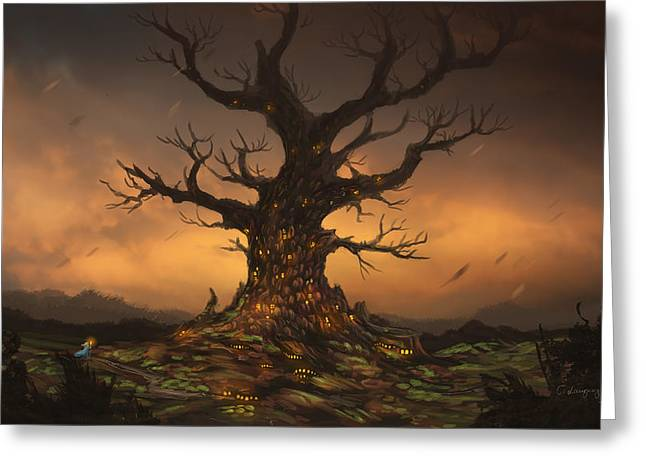 The Tree Greeting Card by Cassiopeia Art