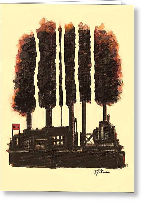 Fineartamerica Mixed Media Greeting Cards - The Tree Factory  Number 1 Greeting Card by Diane Strain