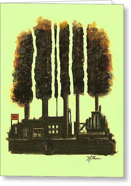 Tress Posters Greeting Cards - The Tree Factory  Number 3 Greeting Card by Diane Strain