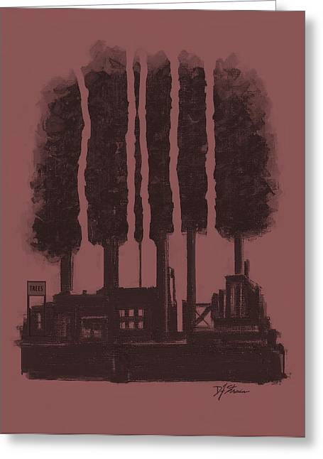 Tress Posters Greeting Cards - The Tree Factory  Number 7 Greeting Card by Diane Strain