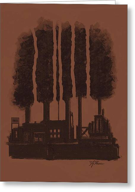 Fineartamerica Mixed Media Greeting Cards - The Tree Factory  Number 9 Greeting Card by Diane Strain