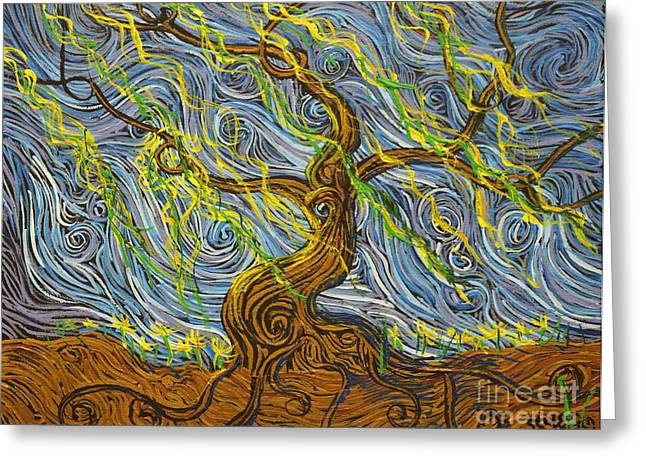 Tree Roots Paintings Greeting Cards - The Tree Have Eyes Greeting Card by Stefan Duncan