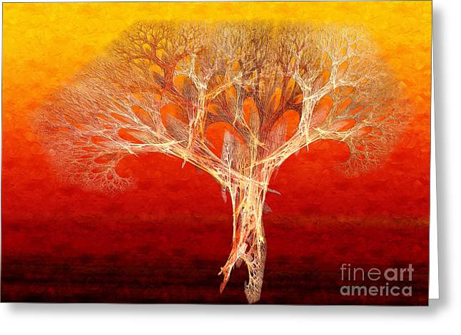 The Tree In Fall At Sunset - Painterly - Abstract - Fractal Art Greeting Card by Andee Design
