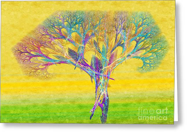 The Tree In Spring At Midday - Painterly - Abstract - Fractal Art Greeting Card by Andee Design