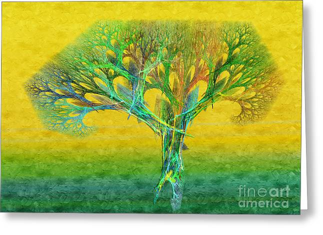 The Tree In Summer At Sunrise - Painterly - Abstract - Fractal Art Greeting Card by Andee Design