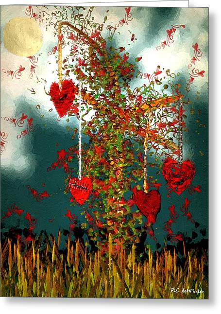 Night Cafe Digital Art Greeting Cards - The Tree of Hearts Greeting Card by RC deWinter